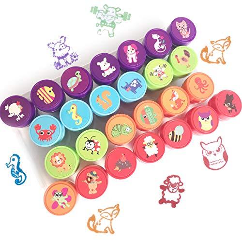 Bestele Animals Stempel Set für Kinder, 26 Stück Gummi-Tinte waschbar Stampers Seal für Kinder Party Favor, Schulpreise, Geburtstagsgeschenk, Lernen Requisiten