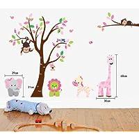 Fungoo - Ampio adesivo decorativo da parete colorato per cameretta, motivo: animali della giungla, elefante, scimmia, giraffa, leone, gufi, zebra - Fun Party Animals