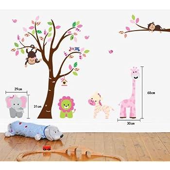Fungoo Large Colorful Tree U0026 Jungle Animals Wall Sticker Nursery Bedroom  Wall Art Decor Elephant/