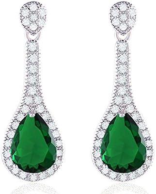 Fashion joyas GULICX circonitas cúbicas tono plateado ovillo de boda Drop pendientes largos con forma Juego de pendientes de posiciones de clavijas perforadas verde