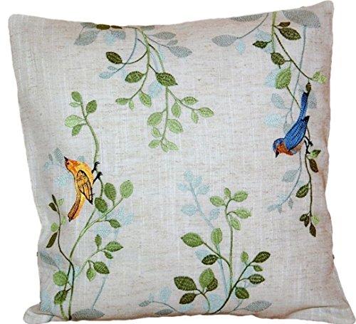 tischdecken-iris-shop Kissenhüllen Kissen Dekokissen 40x40 cm Natur Landhaus romantisch Vogel blau bunt gestickt Kissenbezug Leinenoptik -