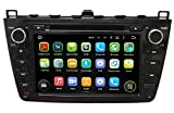 (Schwarz) 8 Zoll 2 Din Android 5.1.1 Lollipop OS Autoradio für Mazda 6 2008 2009 2010 2011 2012, kapazitiver Touchscreen mit Quad Core 1.6G Cortex A9 CPU 16G Flash und 1G DDR3 RAM GPS Navi Radio DVD Player 3G/WIFI Aux Input OBD2 USB DVR