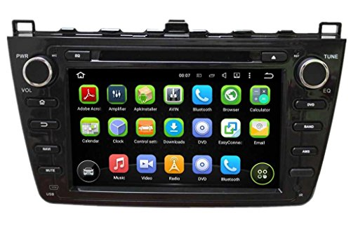 (Schwarz) 8 Zoll 2 Din Android 5.1.1 Lollipop OS Autoradio für Mazda 6 2008 2009 2010 2011 2012, kapazitiver Touchscreen mit Quad Core 1.6G Cortex A9 CPU 16G Flash und 1G DDR3 RAM GPS Navi Radio DVD Player 3G/WIFI Aux Input OBD2 USB DVR - Verwendet Ipod 16gb
