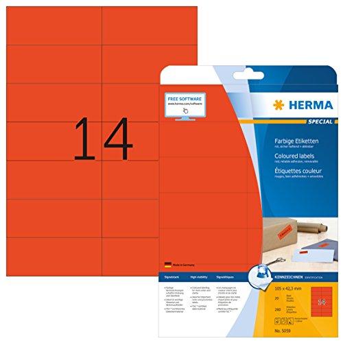 Herma 5059 Farbetiketten ablösbar (105 x 42,3 mm auf DIN A4 Papier matt) 280 Stück auf 20 Blatt, rot, bedruckbar, selbstklebend