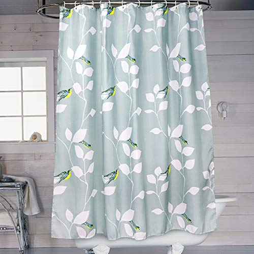 SueH Design Duschvorhang aus Polyester mit Haken, Mehltauresistent, Wasserabweisend und Umweltfreundlich - Blauer Vogel
