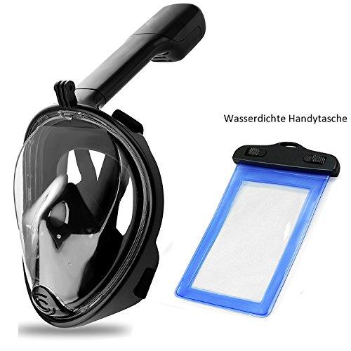 SWAMPLAND Tauchmaske, Easybreath Schnorchelmaske mit 180° Grad Anti-Fog Anti-Leak Vollgesichtsmaske Mask Erwachsene für Erwachsene und Jugendliche Größe breit View Full Face