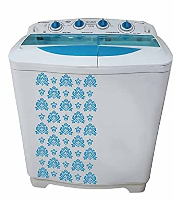 Mitashi MiSAWM80v10 Semi-automatic Top-loading Washing Machine (8 Kg, White and Blue) with 2 + 3 years extended warranty