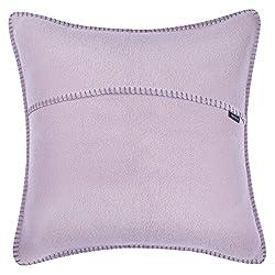 zoeppritz since 1828 Soft-Fleece-Kissenbezug, Polarfleece mit Häkelstich, weiche, hochwertige Sofa-Kissenhülle, Polyester, Viskose, 405 pale lavender, 40 x 40 cm
