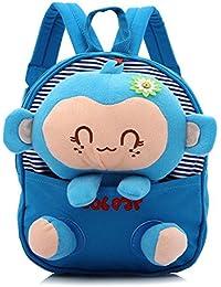 Preisvergleich für Wongfon Kinder Schultasche Baumwolle Rucksack Kindergarten Baby Cartoon Puppe Affe Tasche + abnehmbare Affe Spielzeug