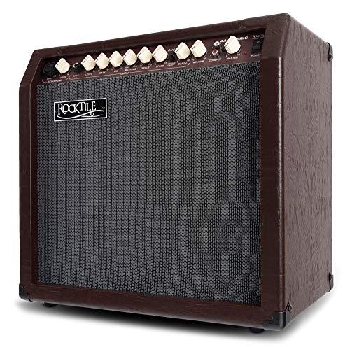 """Rocktile AA-30 Eric Akustikverstärker (30 Watt, 2 Kanäle (Mikrofon und Gitarre), 10\"""" Speaker + 2,5\"""" Hochtöner, AUX-Eingang und Line Out, Chorus- und Hall-Effekt) braun"""