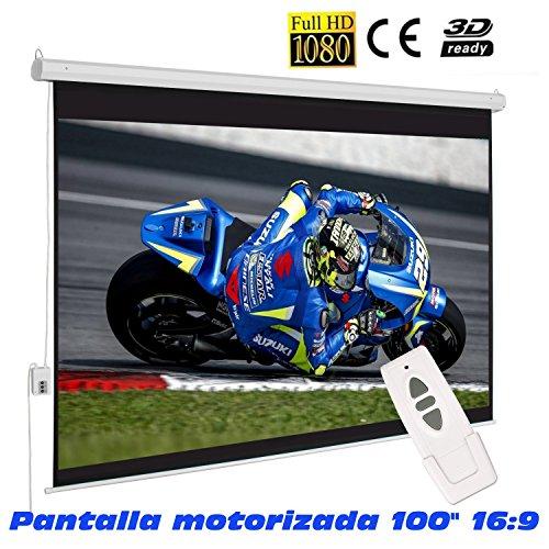 "Pantalla de proyeccion electrica de 100"" 16:9 (2 x 1,24 metros) compatible con FULLHD"