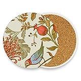Chinesische Kuckucksuhr Chrysanthemen rund saugfähig Keramik Stein Getränkeuntersetzer Kaffeetassen Set für Home Office Bar Küche (Set von 1 Stück), keramik, multi, 4er-Set