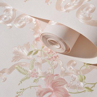 xy Exquisite Wandtattoo Fototapete Rollenpapier Europäische Romantik Ländliche Blume 3D Tapete Schlafzimmer Wohnzimmer TV-Einstellung Wandtapeten von Heimwerker 303 rosa 9,5 m lang 53 cm breit -