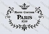 A4 Schablone Shabby Chic Vintage, Frankreich, Möbel, Stoff, Glas, wiederverwendbarem Mylar (78)