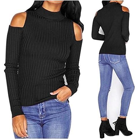 Maglioni Donna , Reasoncool Manica lunga donne lavorato a maglia Pullover maglione sottile ponticello camicetta Tops