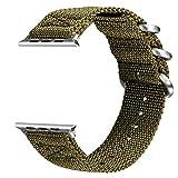 V-MORO Apple Watch Armband ,Woven Nylon Gurt Ersatz Handgelenk Uhrband Uhrenarmband Erstatzband Uhren-Armband für Apple Watch Series 3 Series 2 und Series 1 42mm (Nylon Grün, 42mm)