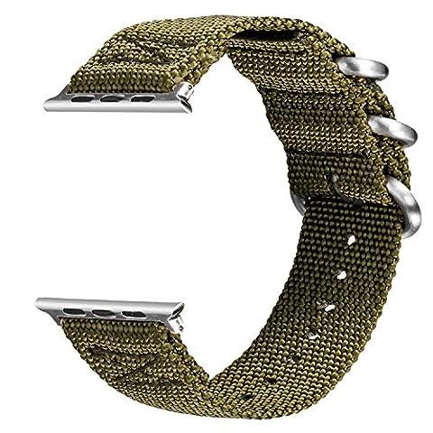 V-MORO Apple Watch Armband ,Woven Nylon Gurt Ersatz Handgelenk Uhrband Uhrenarmband Erstatzband Uhren-Armband für Apple Watch Series 2 und Series 1 Sport, Hermes, Nike+, Edition (Nylon Green, 38mm)