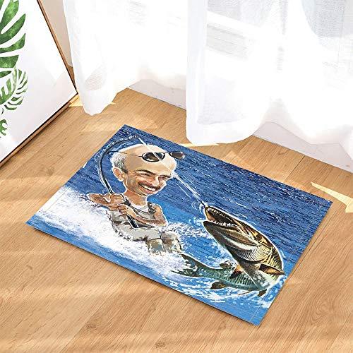 yinyinchao Meer Badezimmer Teppich,Fun Man Surf Angeln Fisch,Outdoor Indoor Anti-Rutsch-Fußmatte,KinBadezimmer Teppich,40X60 cm,Bad-Accessoires -