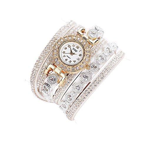 Design Frauen Mode (Sunnywill CCQ Frauen Mädchen Damen Schöne Mode Design Strass Armband für Weibliche (White))