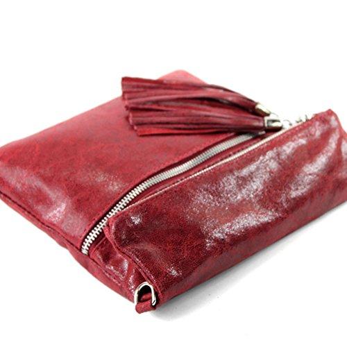 ital. Ledertasche Clutch Umhängetasche Unterarmtasche Glattleder Schlangenoptik T130 T130B Rot