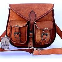 Shakun Leather auténtico vintage Piel bolso de bandolera hecho a mano para mujeres con bolsillos frontales, 10 x 13 pulgada