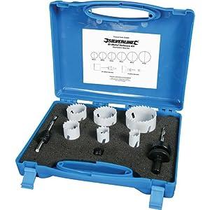 Silverline 273220 – Juego de coronas bimetal para electricistas, 9 pzas 18-51 mm