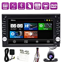 Rear Camera Included 800HZ CPU New Model GPS Car Stereo 6.2-Inch Capacitive Touch Screen Double-2 DIN In Dash Car DVD Player LCD Monitor with DVD/CD/MP3/MP4/USB/SD/AM/FM/RDS Radio/Bluetooth/Stereo/Audio and GPS Navigation SAT NAV Wall Paper exchange HD:800*480 LCD+Windows Win CE UI Design GPS