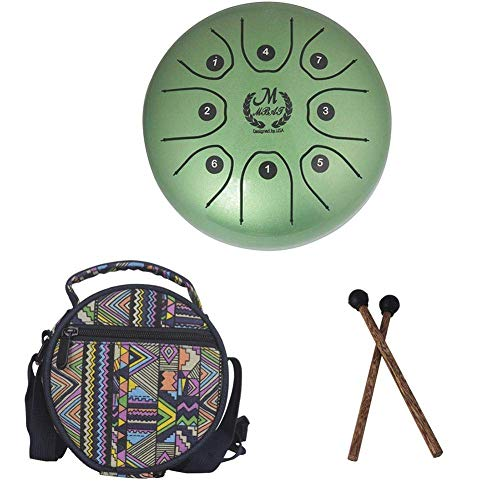 el Tongue Drum Percussion Drum Stainless Handpan Brahma Drum with Drum Mallets Carry Bag for Meditation Yoga Zazen Sound Healing 5.5 Inch (Green) ()