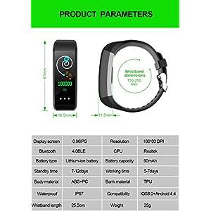 QUMOX Smartband Presión Arterial Monitor de Ritmo Cardíaco Podómetro Fitness Tracker Azul