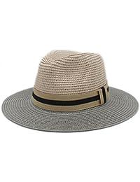 HYF Mujeres Hombres Verano Toquilla Sombrero de Paja de Sol Sombrero de ala Ancha  Homburg Fedora ba416b4efa3