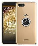Sunrive Coque pour Wiko Tommy 3, Silicone 360 degrés Métal Support Bague Rotation...
