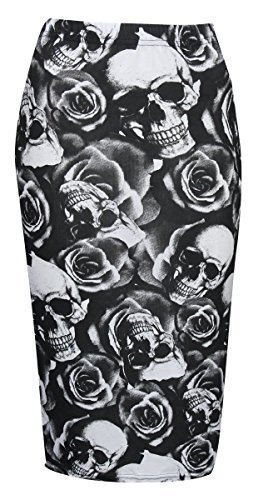 Baleza Damen Bleistiftrock wadenlang, erhältlich in Normal- und Übergrößen 36-54, gemustert Skull Rose