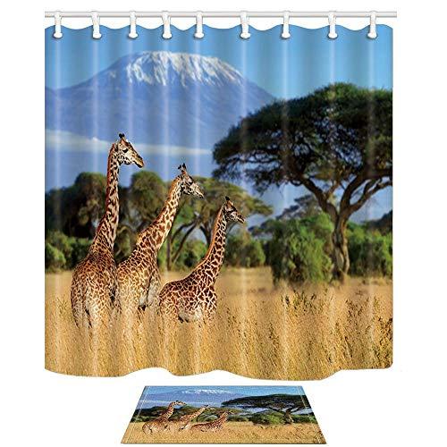 Aliyz Nationalpark von Kenia Afrika Dekor DREI Giraffen auf Kilimanjaro Mount Polyester Stoff wasserdicht Duschvorhänge 71X71in Duschvorhang Haken enthalten mit Bad Teppichen 15.7x23.6in - Bottom Mount Licht