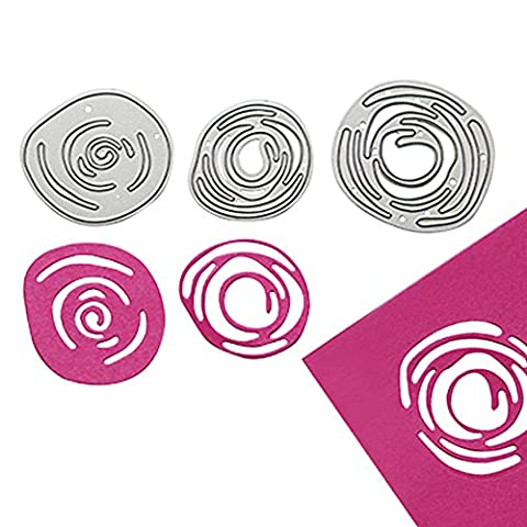 Enipate Metal Cutting Dies 3pc Spiral Flowers Bud Abstract Scrapbook Album Invitation Home Decoration Embossing