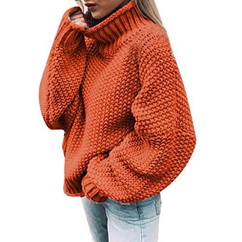 ZEELIY Damen Herbst Winter Strickjacke Casual Einfarbig Hoher Kragen Strickpulli Elegant Lang Outwear Lose Strickpullover Langarm Warm Pulli 7 Farben S-3XL