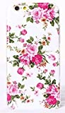Phone Kandy® Pretty Vintage Floral TPU Soft Shell Case Silicone Cover with Screen Protector (iPhone 6 PLUS (5.5 inch), White - Pink Spray Flowers)