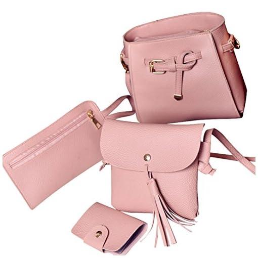 Handtaschen Damen, LHWY 4 Stücke Frauen Taschen Geschenke Set Mode Handtasche Schultertasche Tote Bote Crossbody Brieftasche Umhängetasche