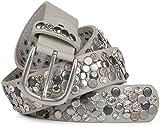 styleBREAKER Nietengürtel im Vintage Design mit echtem Leder, verschiedenen Nieten und Strass, kürzbar, Damen 03010051, Farbe:Hellgrau;Größe:100cm