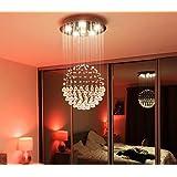 """Saint Mossi® Lámpara colgante de lluvia de cristal Lámpara de techo moderna y contemporánea 6 GU10 Lámparas LED requeridas H32 """"X D18"""""""
