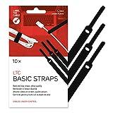 Label-the-cable fascette chiusura a strappo, etichetta cavo universale, effetto velluto, cavi in ordine, controllo cavi / LTC BASIC STRAPS, 10 pezzi, 17 cm, Nero, LTC 1110