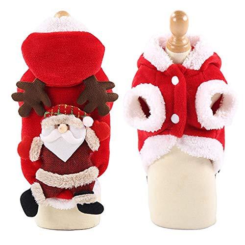 Haustier-Kleidung Roter Plüsch-Elch-Sankt-Haustier-Hut-Verschluss-Entwurf Zwei Beine, die Weihnachtskatzen und -hunde tragen Herbst und Winter luden Haustier-Versorgungsmaterialien (Size : - Mädchen Zeichentrickfilm Figur Kostüm