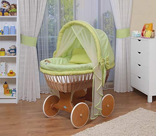 WALDIN Landau/berceau bébé complet,44 modèles disponibles,Cadre/Roues peint,couleur du tissu vert/carreaux