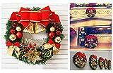 Coxeer Weihnachtskranz, Türkranz Weihnachten Weihnachtsdeko Kranz Weihnachtsgirlande mit Kugeln Handarbeit Weihnachten Garland Deko-Kranz (Mehrfarbig-Bell) - 7