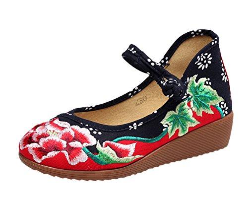 SK Studio Mary Janes Femme Fait Main Broderie Fleur Moulantes Ballerine Compensées Chaussures