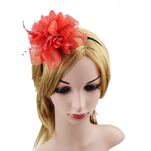 Clip elegante para mujer, broche de plumas, flores y malla, de JasmineLi, Rojo