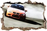Pixxprint 3D_WD_S1647_62x42 Oranger BMW im Sonnenschein Wanddurchbruch 3D Wandtattoo, Vinyl, Bunt, 62 x 42 x 0,02 cm