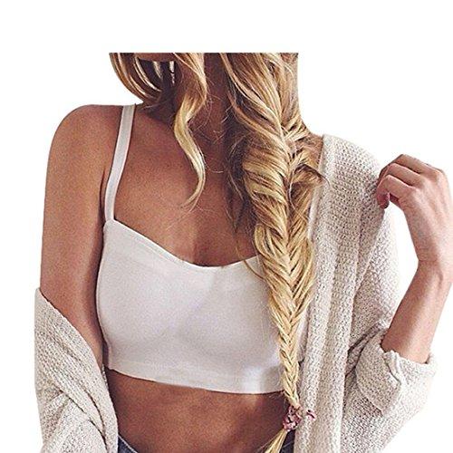Mode Damen Weste,Xinan 1PC Sexy Crop Tops Frauen Bügel-Weste-Ausschnitt Hemd-Sommer-Strand-Behälter (Weiß) (Anzug Klassischen Taste)