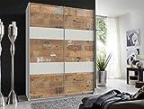 lifestyle4living Kleiderschrank in weiß mit Absetzungen in Digitalprint, Schwebetüren-Schrank mit viel Stauraum im angesagten Look, 135 cm