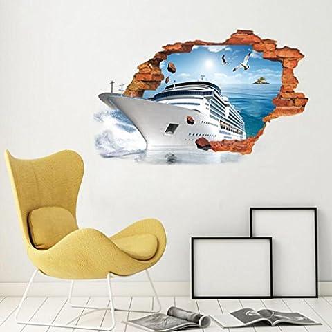 Longless Kreativ, 3D-Stereo, Schiff wand Aufkleber, Wohnzimmer Schlafzimmer, dekorative Aufkleber (Illusion Glas Schiff)