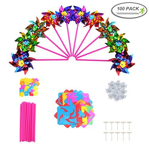 100pcs Moulin à vent, Mini pour enfants–Petite fête Pinwheels Moulin à vent 16x 27,9cm